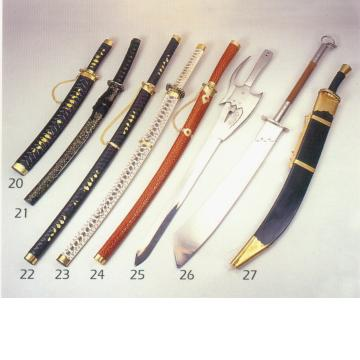 Samurai swords, ancient Chinese broad blade knives