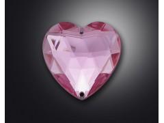 2 holes of heart shape acrylic rhinestone